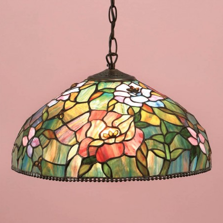 lampada a sospensione tiffany con fiori colorati