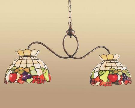 lampada a sospensione tiffany doppia per tavolo con frutta