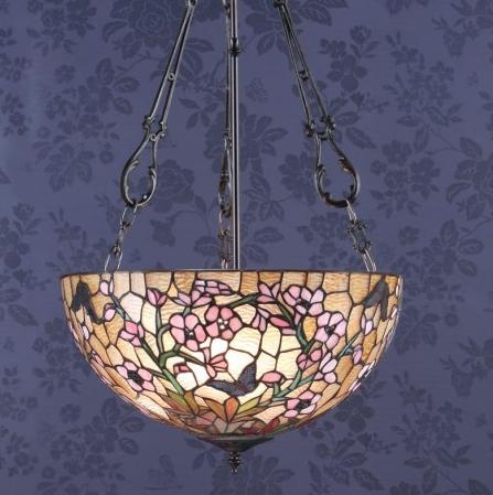 lampada a sospensione tiffany invertita con fiori rosa