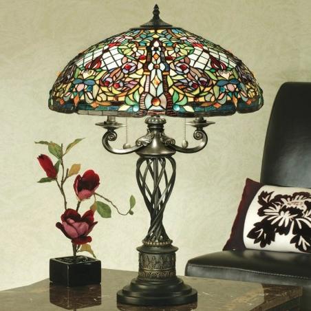 lampada da tavolo tiffany colorata, a moaico