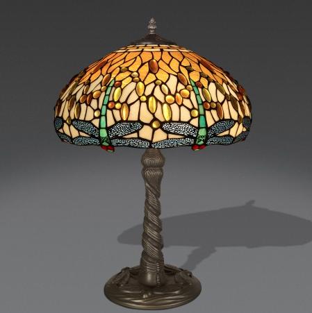 lampada da tavolo tiffany gialla con libellule