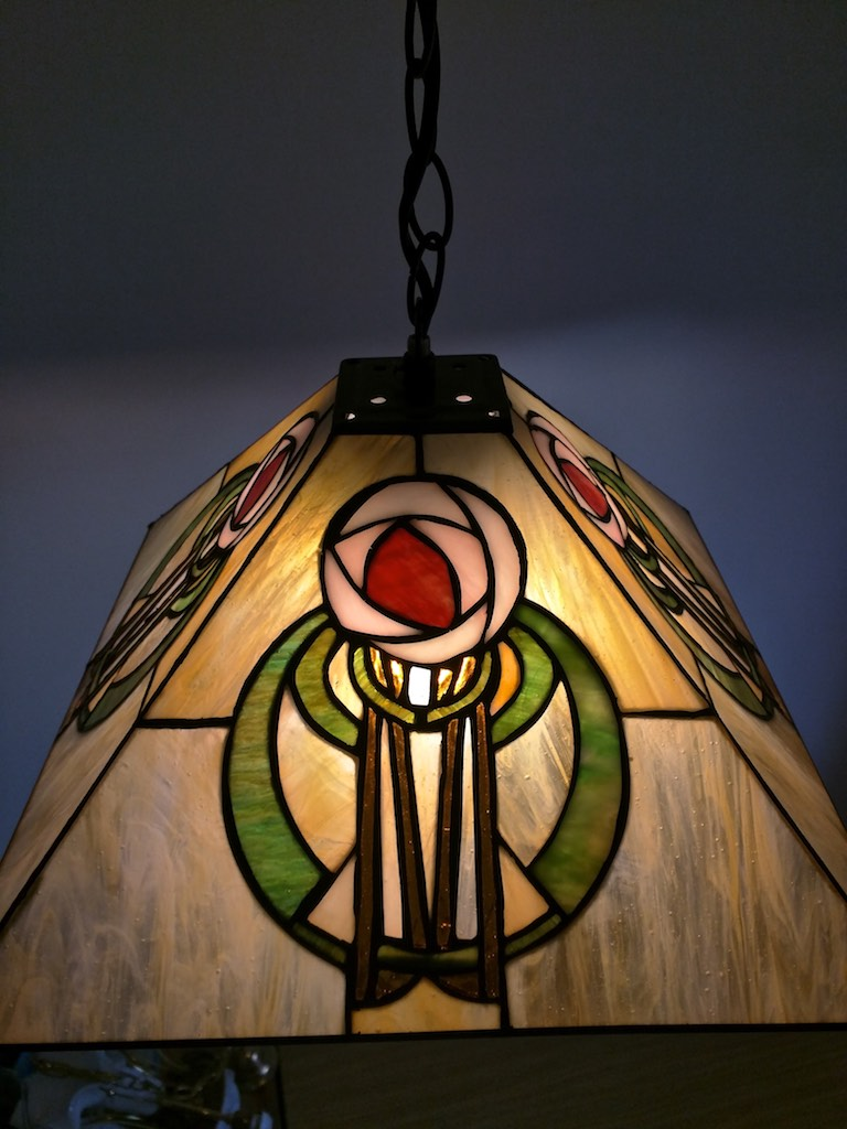 lampada a sospensione tiffany con fiore, gialla