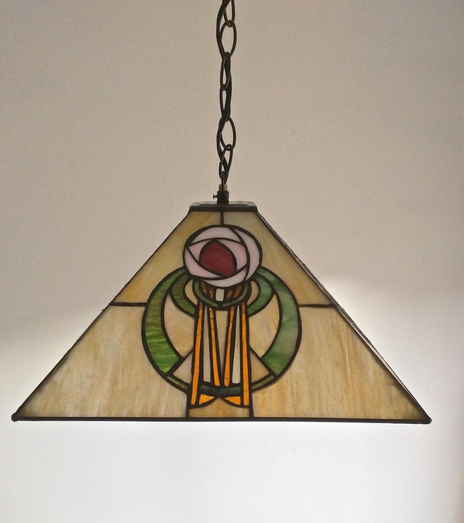 lampada a sospensione tiffany quadrata