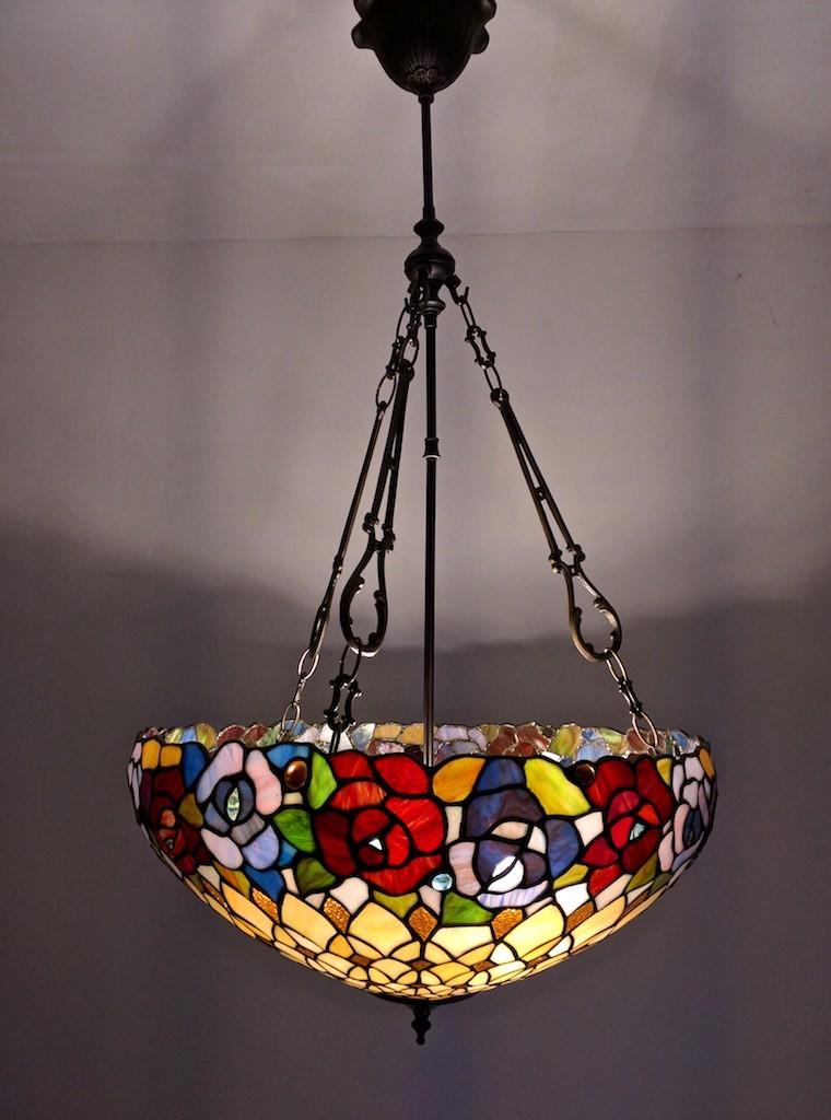 lampada tiffany sospensione con fiori colorati