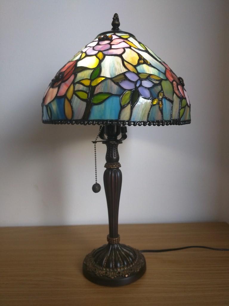 Lampada da Tavolo o Scrivania Tiffany con Fiori, colorata 12