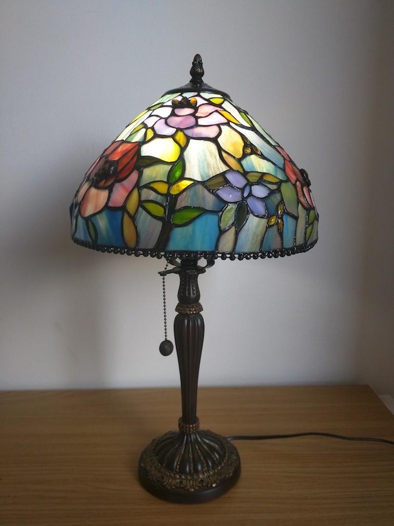 Lampada da Tavolo o Scrivania Tiffany con Fiori, colorata 15