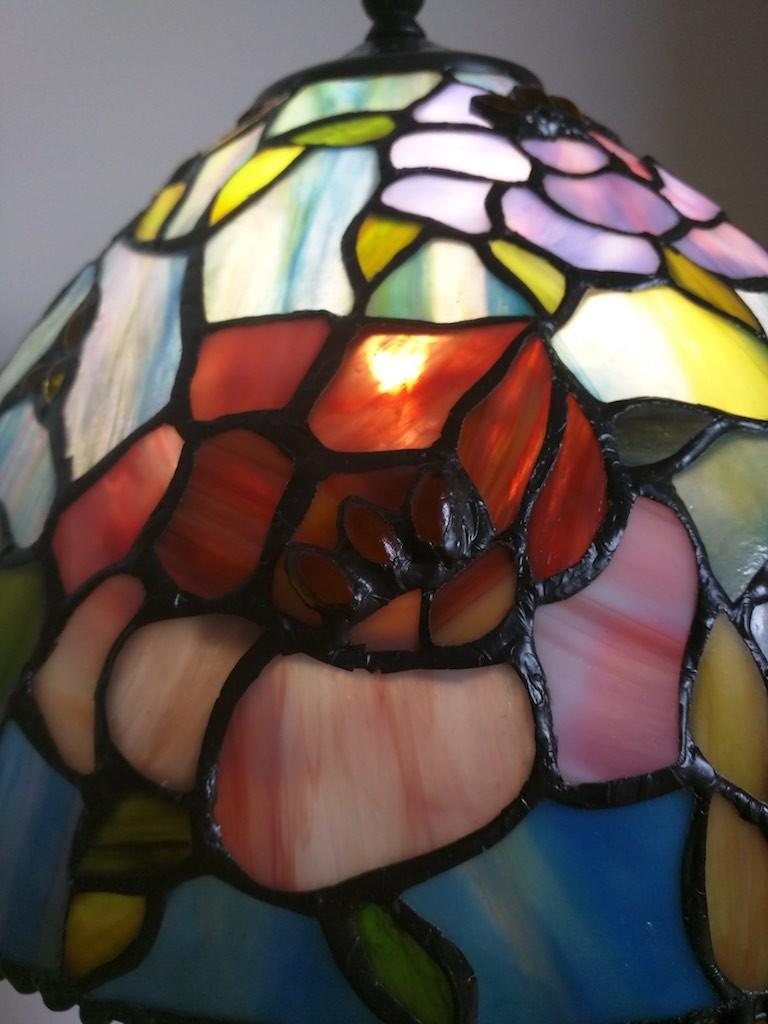 Lampada da Tavolo o Scrivania Tiffany con Fiori, colorata 18