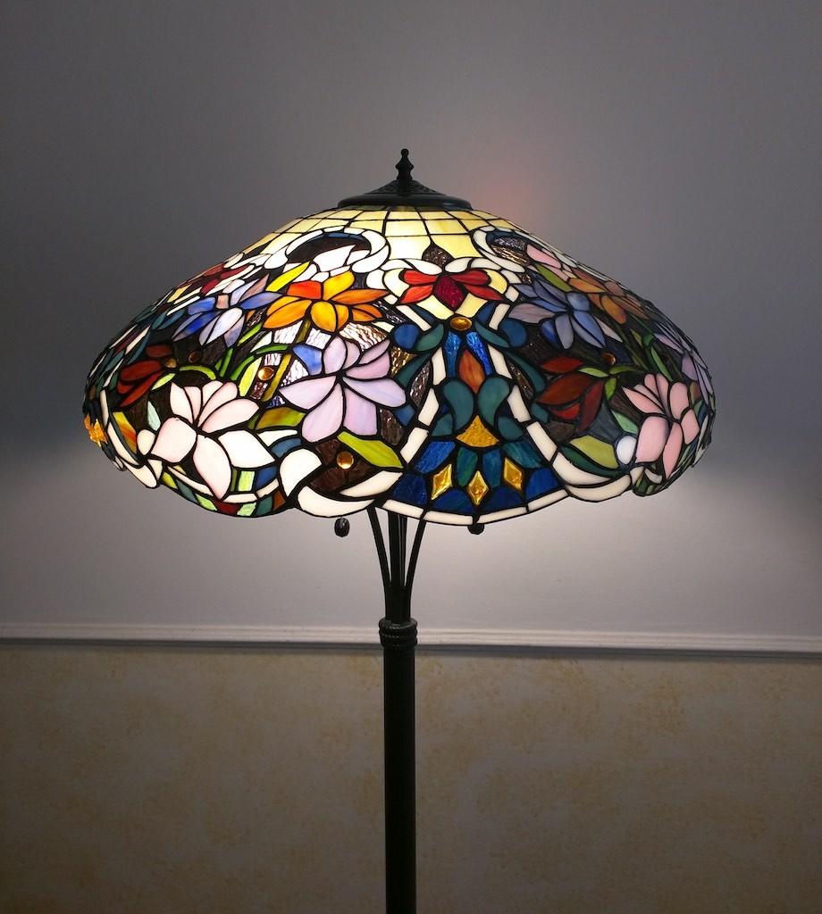 Piantana Lampada da Terra Tiffany con Fiori colorati 10