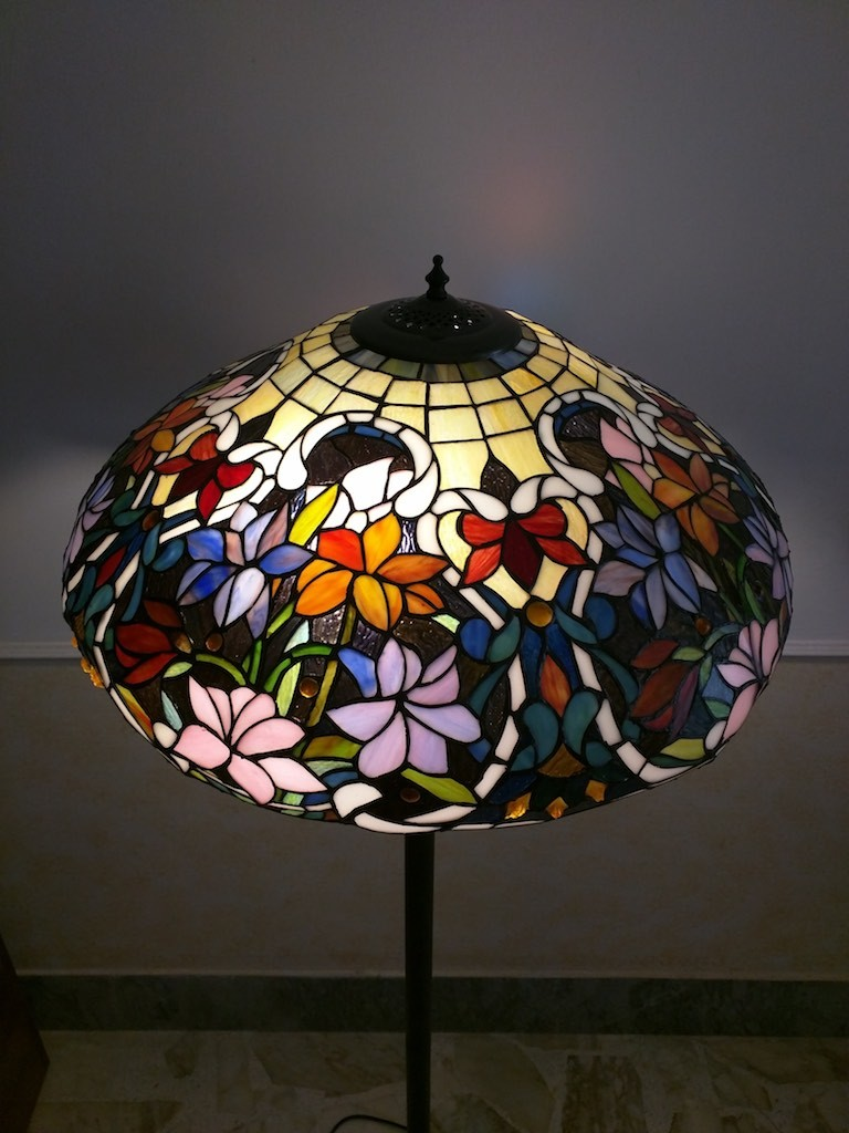 Piantana Lampada da Terra Tiffany con Fiori colorati 15