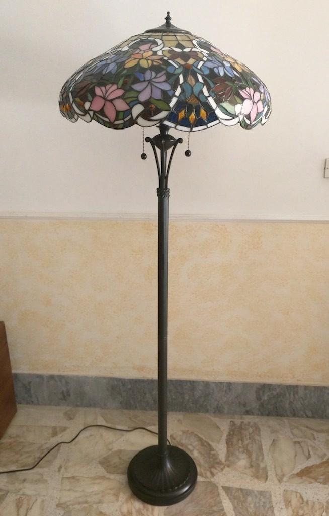 Piantana Lampada da Terra Tiffany con Fiori colorati 3