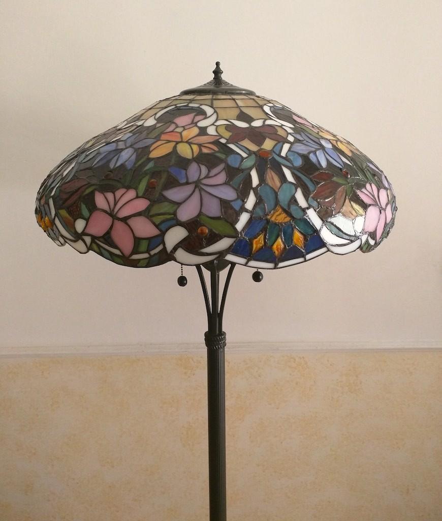 Piantana Lampada da Terra Tiffany con Fiori colorati 4