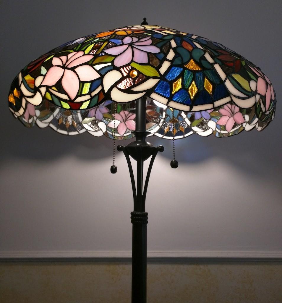 Piantana Lampada da Terra Tiffany con Fiori colorati 8