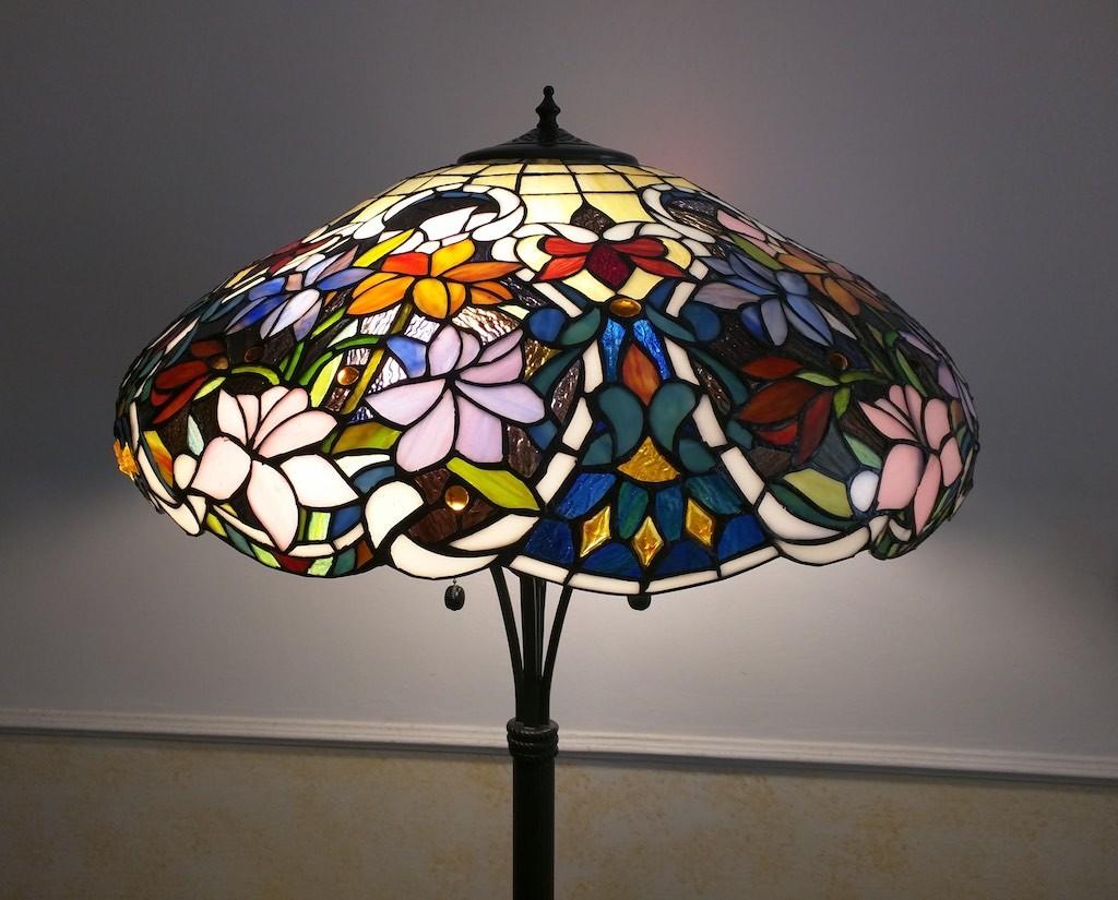 Piantana Lampada da Terra Tiffany con Fiori colorati 9