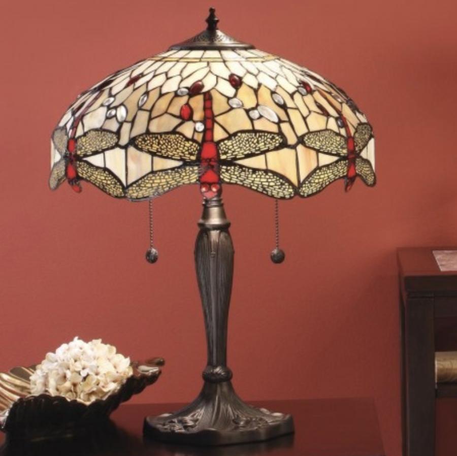 lampada da tavolo tiffany con libellule, rossa