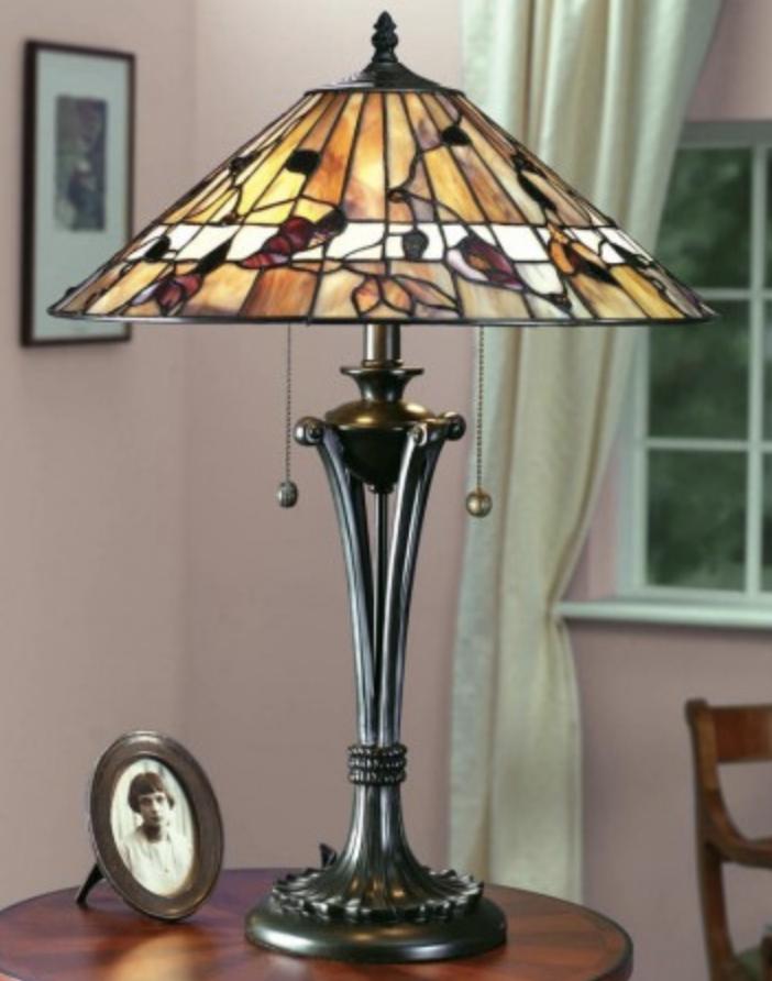 lampada tiffany da tavolo con fiori, marrone