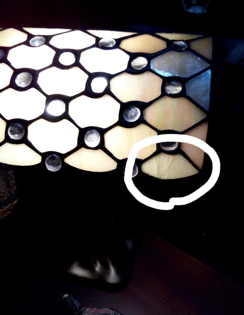 lampada tiffany rotta danneggiata