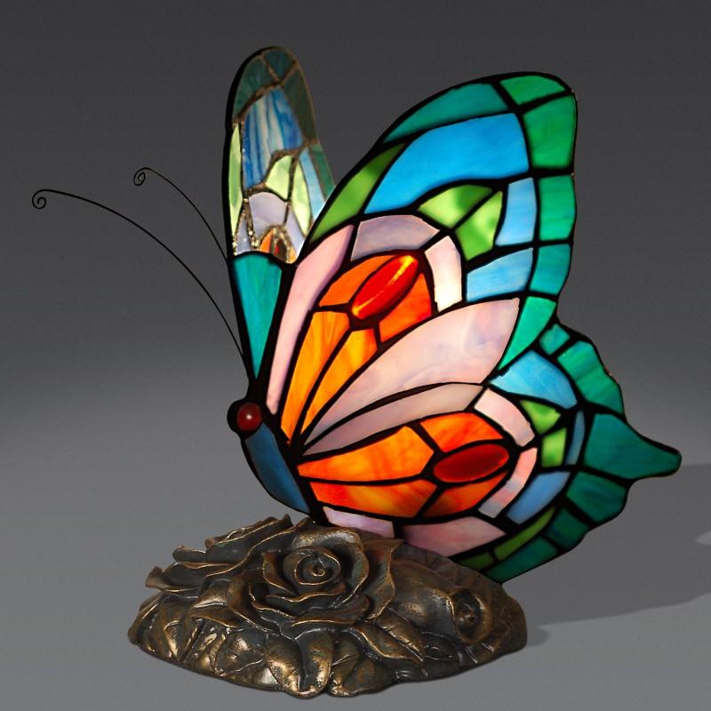 lampada tiffany a forma di farfalla