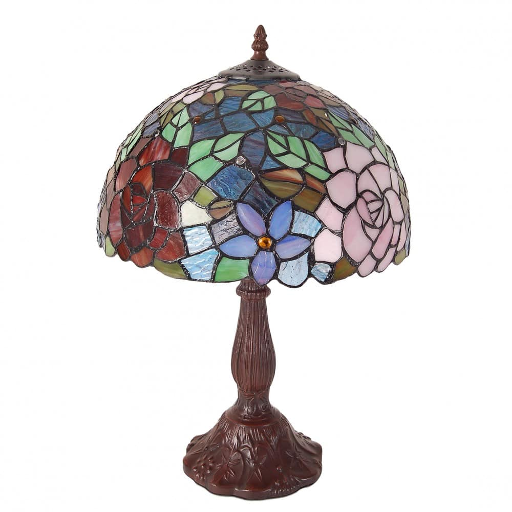 Lampada da Tavolo Tiffany con Fiori luce spenta