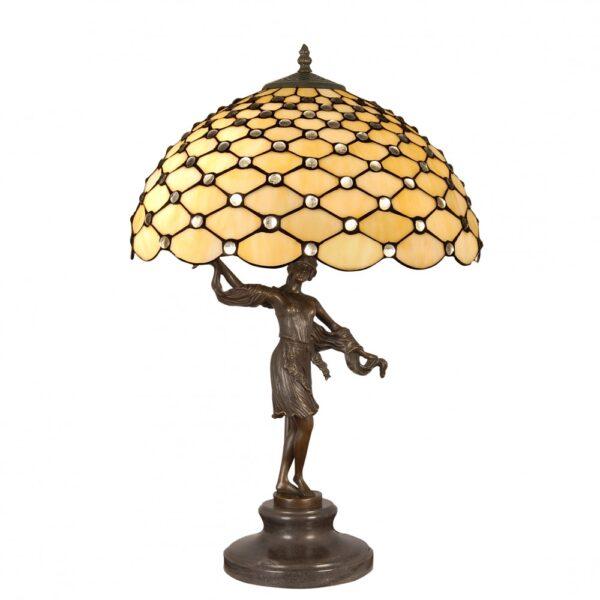 Lampada da Tavolo Tiffany con Scultura