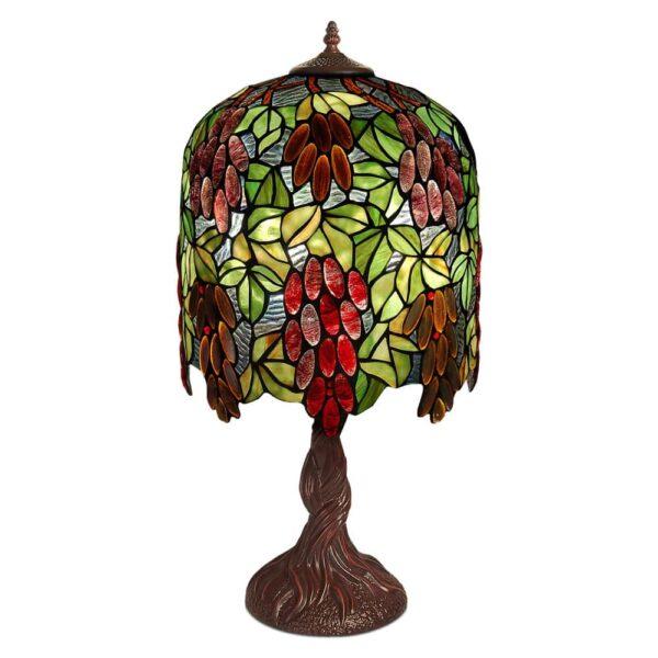 lampada da tavolo tiffany con disegni di uva