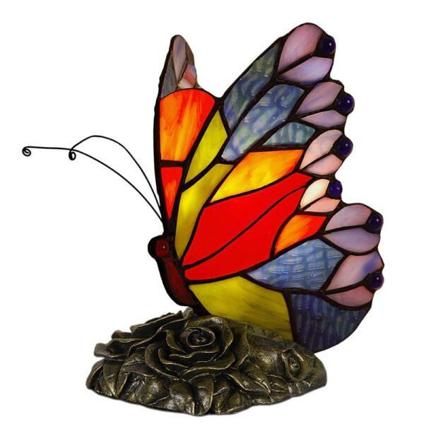 lampada tiffany farfalla rosso giallo turchese lilla