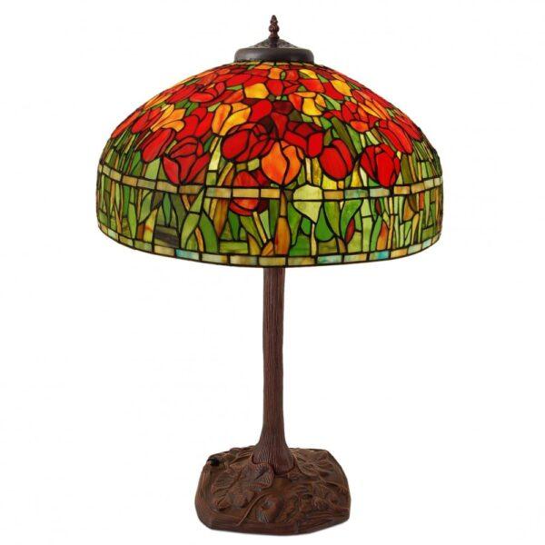 lampada da tavolo tiffany con tulipani rossi