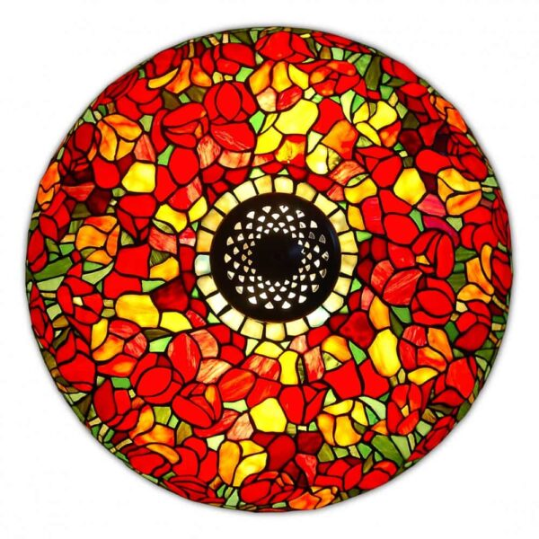 lampada da tavolo tiffany con tulipani rossi alto