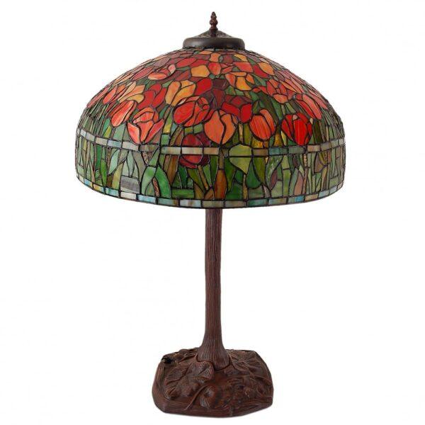 lampada da tavolo tiffany con tulipani rossi spenta