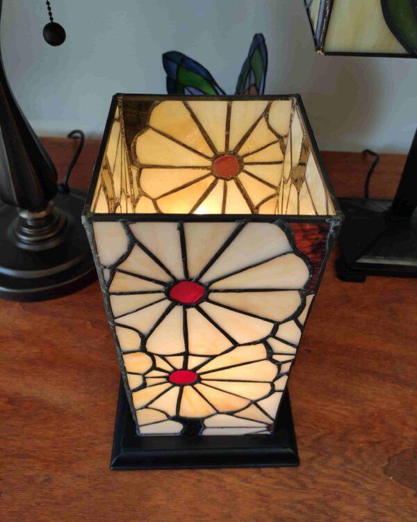 Lampada da Tavolo Tiffany Rettangolare con Fiori 3