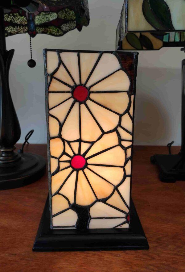 Lampada da Tavolo Tiffany Rettangolare con Fiori 1