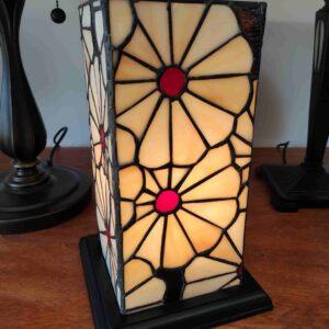 Lampada da Tavolo Tiffany Rettangolare con Fiori