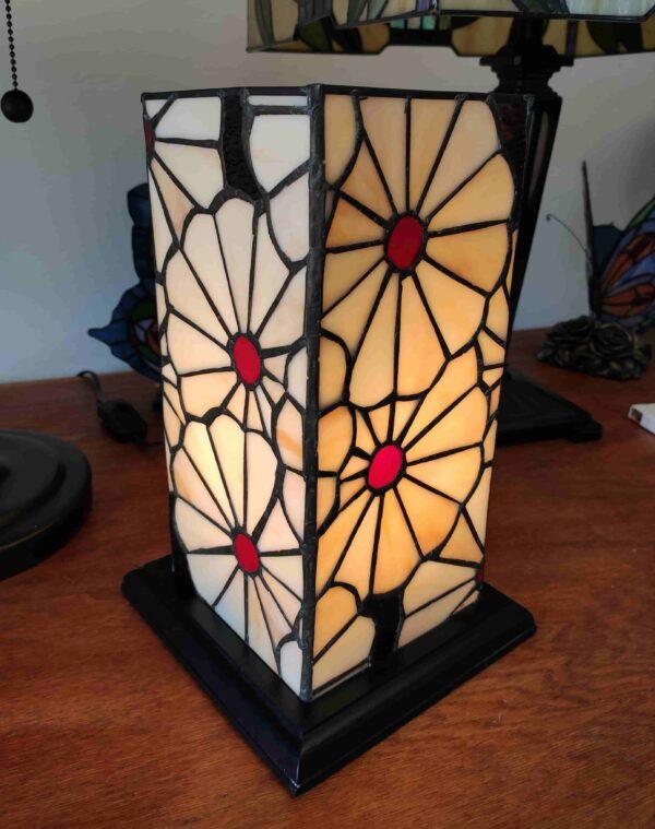 Lampada da Tavolo Tiffany Rettangolare con Fiori 2