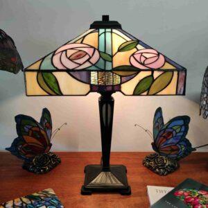 Lampada da Tavolo Tiffany con Fiori quadrata
