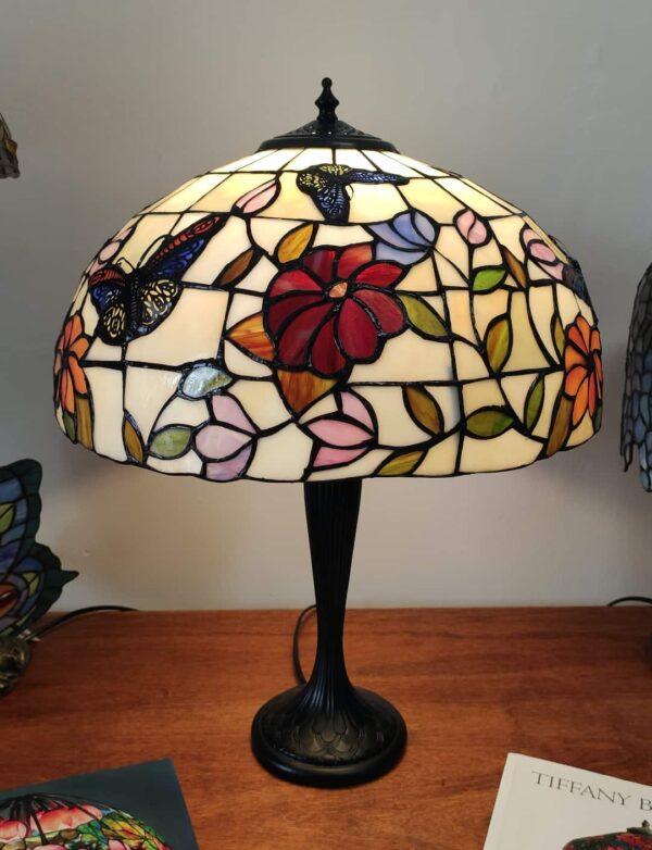 Lampada da Tavolo Tiffany Farfalle e Fiori
