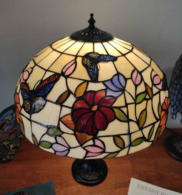 Lampada da Tavolo Tiffany Farfalle e Fiori 1