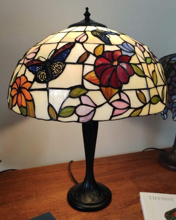 Lampada da Tavolo Tiffany Farfalle e Fiori 8