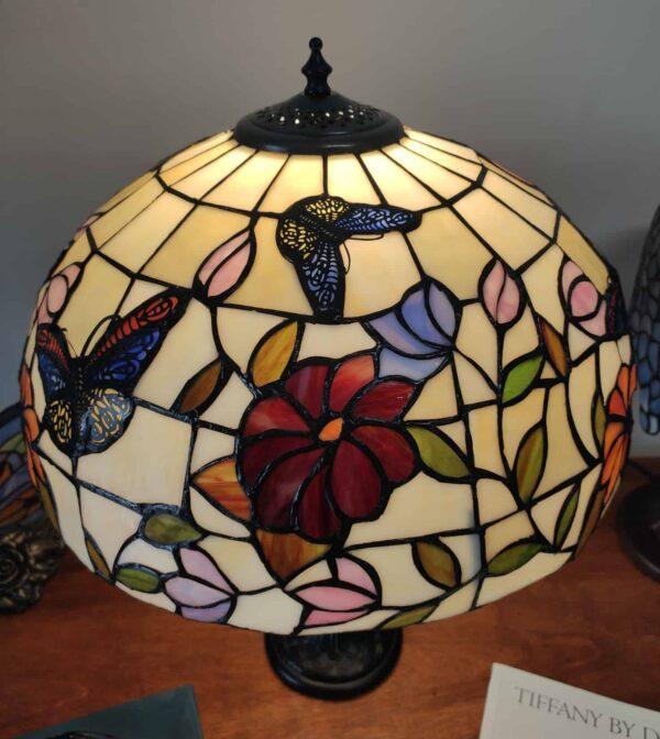 Lampada da Tavolo Tiffany Farfalle e Fiori 2