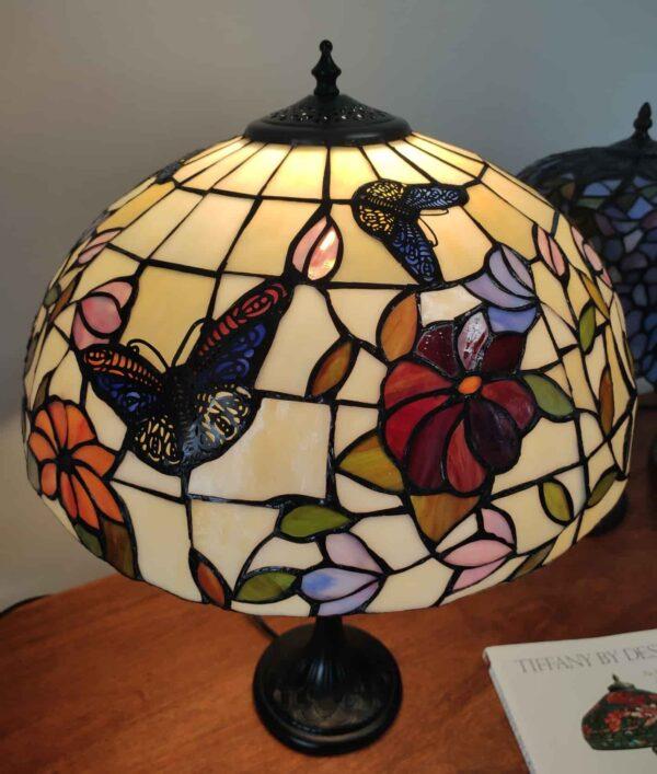 Lampada da Tavolo Tiffany Farfalle e Fiori 10