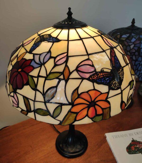 Lampada da Tavolo Tiffany Farfalle e Fiori 9