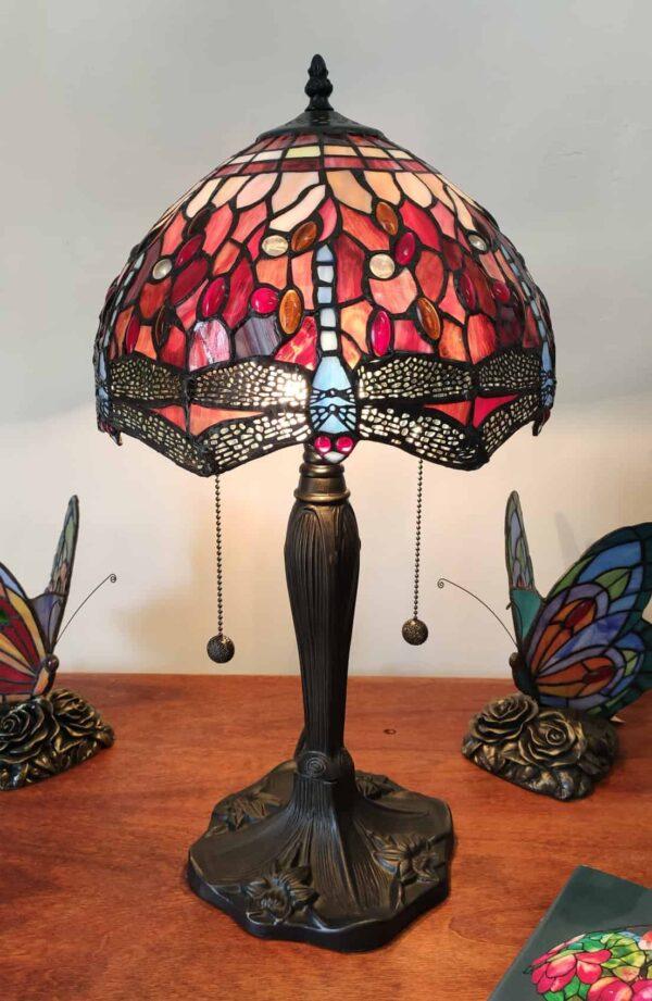 Lampada da Tavolo Tiffany Rossa con Libellule