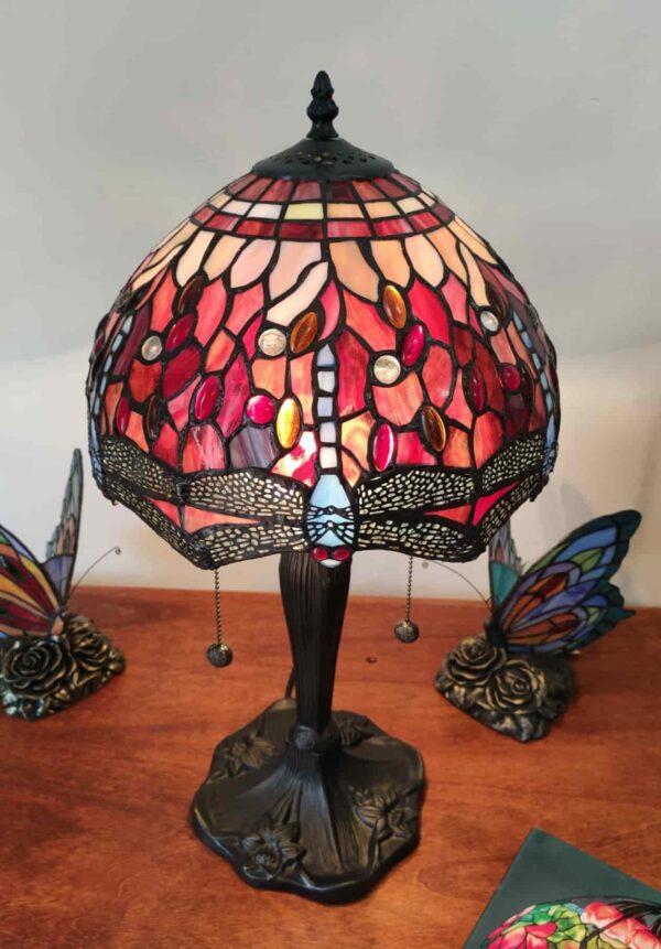 Lampada da Tavolo Tiffany Rossa con Libellule 1