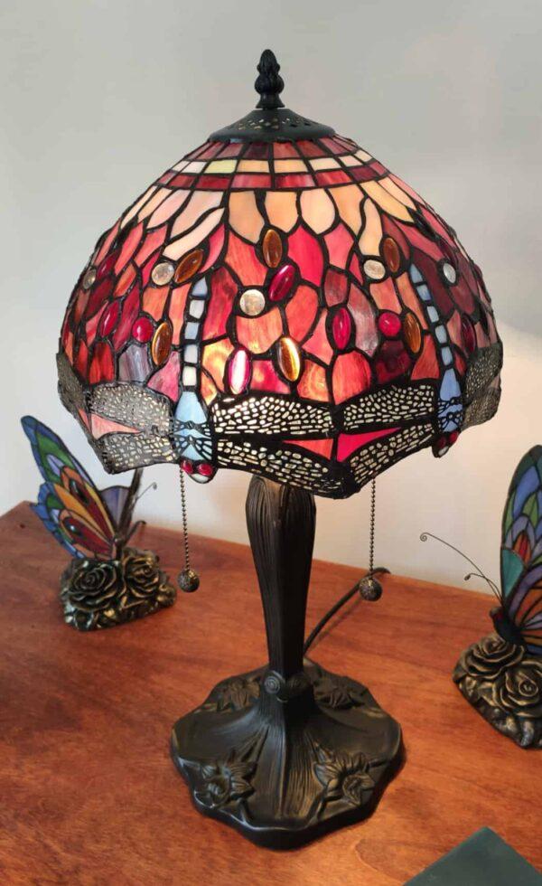 Lampada da Tavolo Tiffany Rossa con Libellule 3