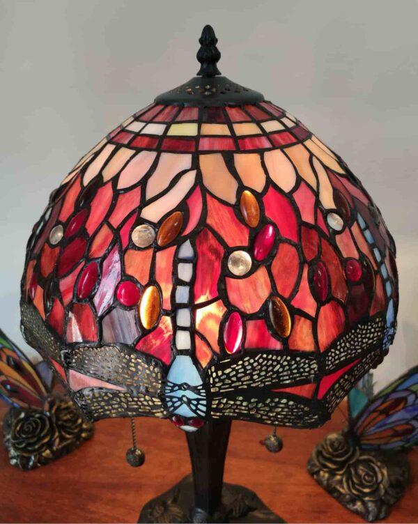 Lampada da Tavolo Tiffany Rossa con Libellule 4