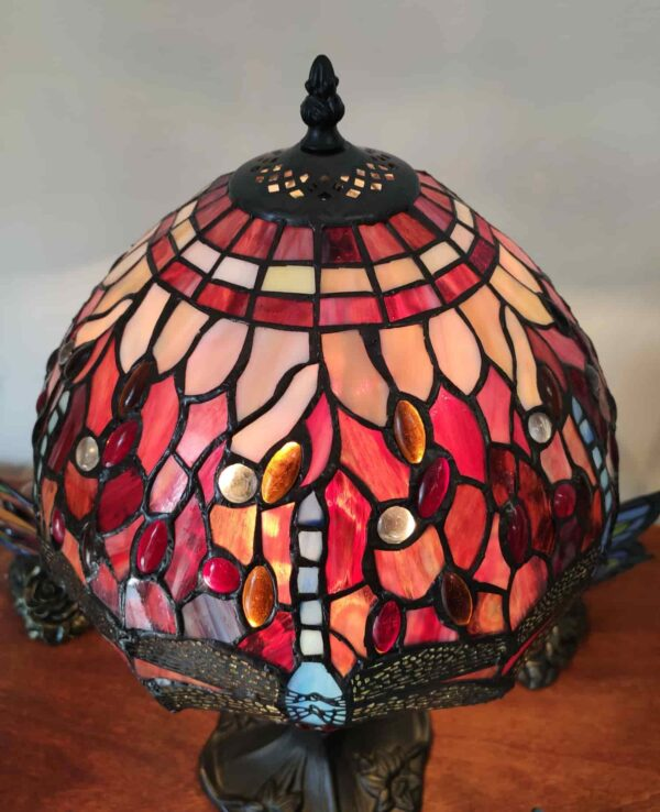 Lampada da Tavolo Tiffany Rossa con Libellule 5