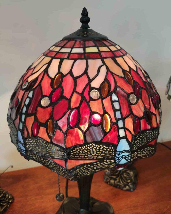 Lampada da Tavolo Tiffany Rossa con Libellule 6