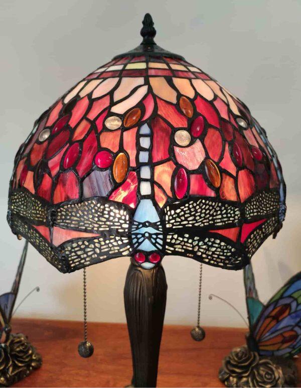 Lampada da Tavolo Tiffany Rossa con Libellule 7