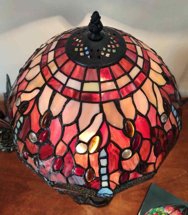 Lampada da Tavolo Tiffany Rossa con Libellule 8