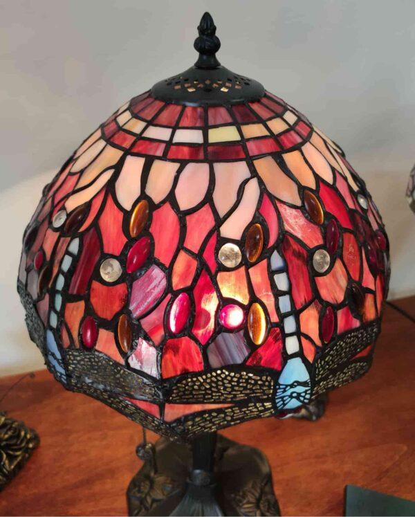 Lampada da Tavolo Tiffany Rossa con Libellule 12