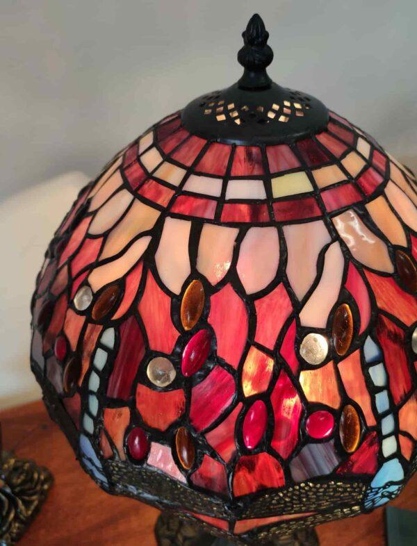 Lampada da Tavolo Tiffany Rossa con Libellule 13