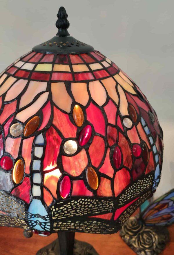 Lampada da Tavolo Tiffany Rossa con Libellule 14